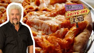 Guy Fieri Tries Baked Ziti PIZZA | Diners, Drive-Ins and Dives | Food Network