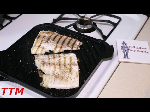 How To Cook Fish Fillets On The Stovetop Cast Iron Grill~Best Grilled Fish~Striped Bass