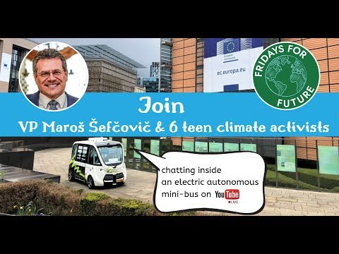 VP Šefčovič meeting with youth climate activists inside an autonomous electric bus