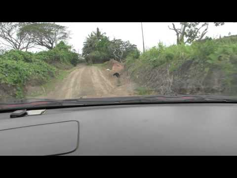 Long steep road to house in Fiji...4x4 required...