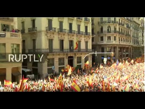 LIVE: Protesters march against Catalan independence in Barcelona