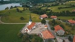 Vol circulaire sur l'église de la commune de Hauteville (en Gruyère)