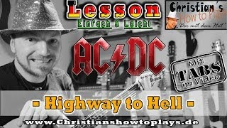 How to Play ACDC HIGHWAY TO HELL Hauptriff Tabs Akkorde Akustik Gitarre lernen Tutorial