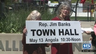 Protesters upset Rep. Banks declined town hall