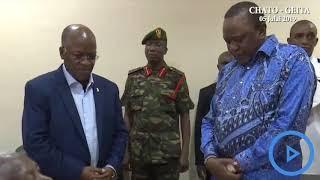 President Uhuru prays for ailing President Magufuli's mother
