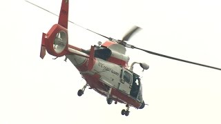 Coast Guard Helicopter lands at Elementary School
