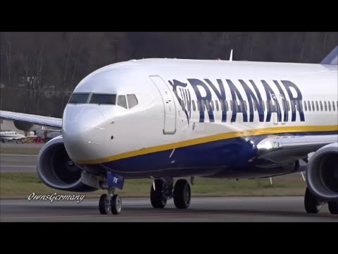 New RyanAir Boeing 737-800 Test Flight Arrival & Hard Brake @ KBFI Boeing Field