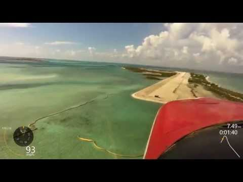 Landing Normans Cay, Exuma Islands, Bahamas