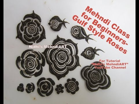 Mehndi Lotus Drawing : Mehndi class for beginners how to draw different gulf style roses