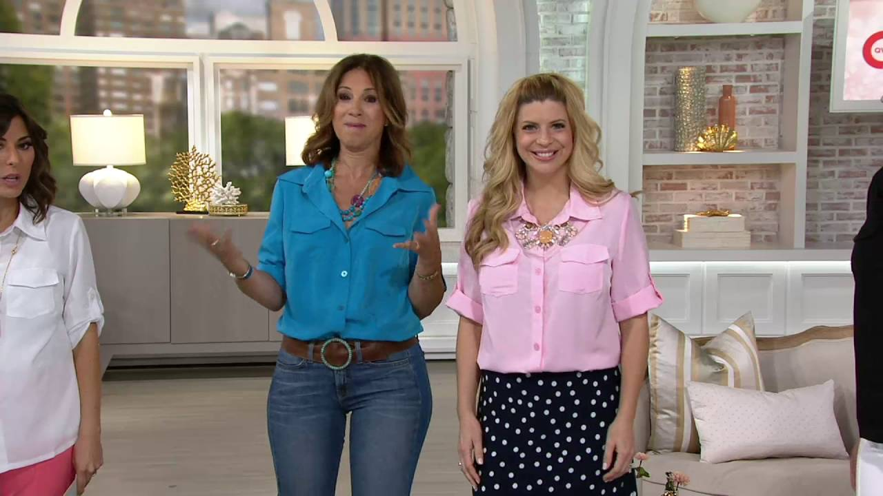 Susan Graver Peachskin Solid Roll Tab Shirt on QVC - YouTube