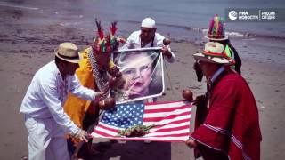 Ритуалы над портретами Трампа и Клинтон