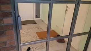 Wiatrołap Wysłona szklana rama metalowa drzwi loft industrialne