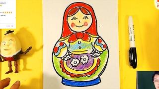 Как нарисовать МАТРЕШКУ урок рисования для детей от 3 лет