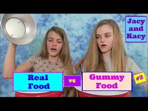 Real Food vs Gummy Food Challenge #2 ~ Jacy and Kacy