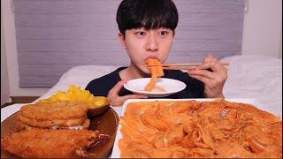 맛있다...배떡 로제떡볶이 (분모자당면ㆍ중국당면) 바삭한 새우튀김 해쉬브라운 먹방 ! ! ㆍMUKBANG ASMR Rose Tteokbokki Fried Shrimp Eating
