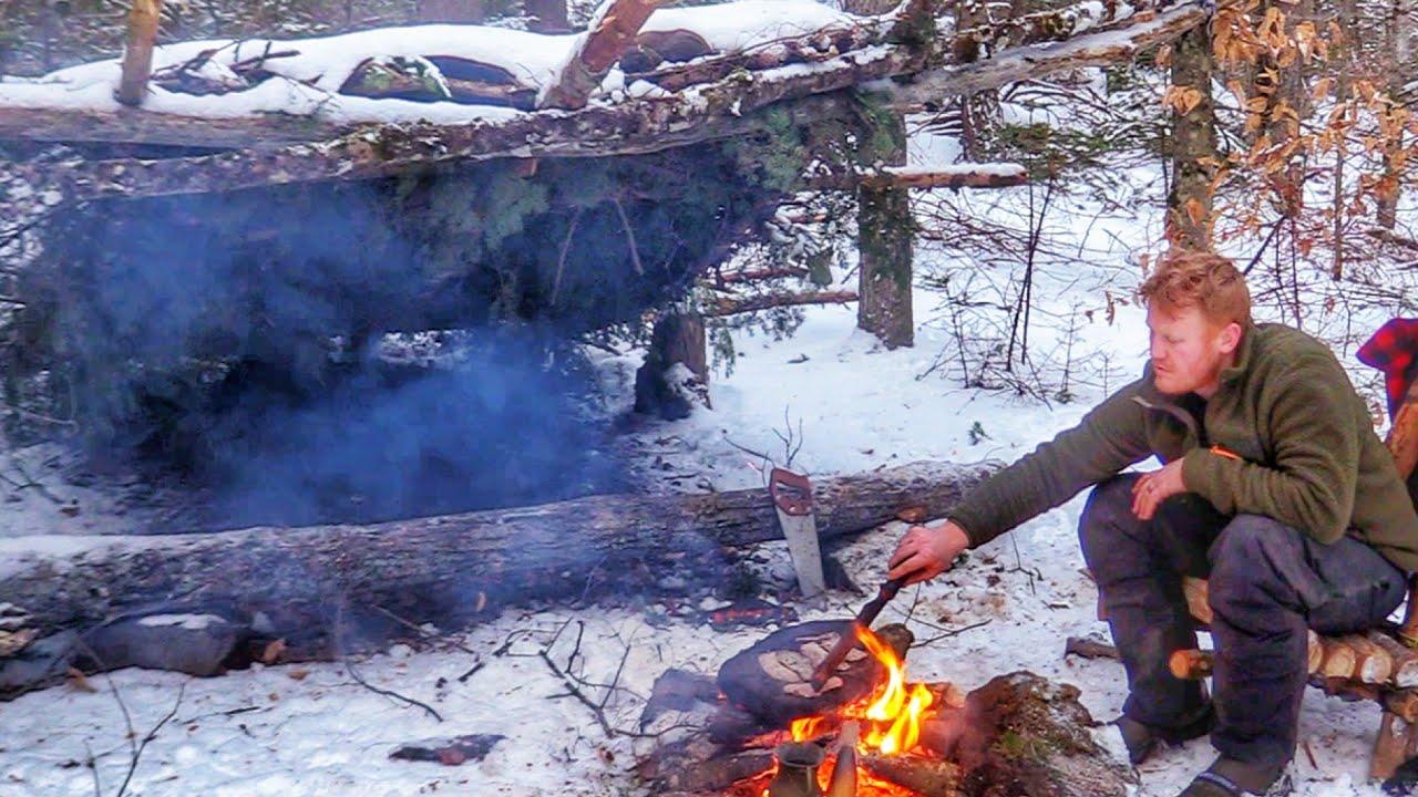 Bushcraft Cooking Eggs & Bacon on a Stone & Harvest Chaga & Make Tea at my Shelter ASMR #Shorts