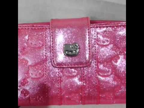 ad5f3e2821 Hello Kitty Loungefly Pink Glitter Embossed Wallet Sanrio - YouTube