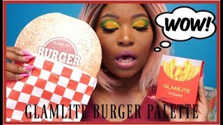 GLAMLITE BURGER PALETTE AND FRY LASHES | REVIEW, SWATCHES & TUTORIAL