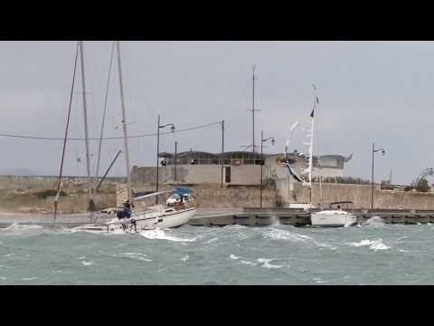 Wild winds in lefkada channel 28-9-2018 Storm Medicane Zorba Greece