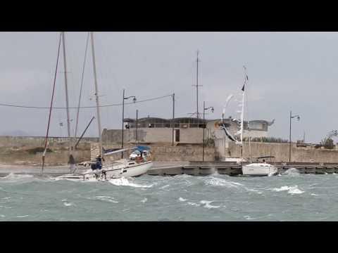Wild winds in lefkada channel 28-9-2018 Storm Medicane Zorba Greece