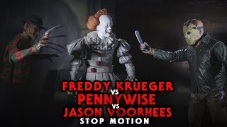 Freddy Krueger Vs Pennywise Vs Jason Voorhees Stop Motion