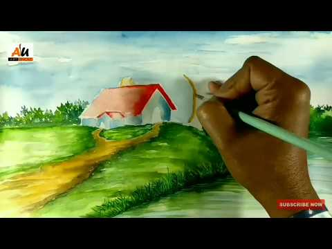 How to draw riverside landscape watercolor painting   step by step tutorial for beginner   #02