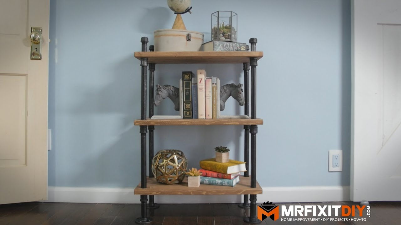 Diy industrial pipe book shelf youtube for Diy industrial bookshelf