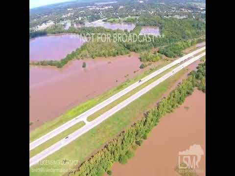 08-22-2017 Overland Park, KS & Paola, KS - Drone Video Of The Deadly Flooding Today