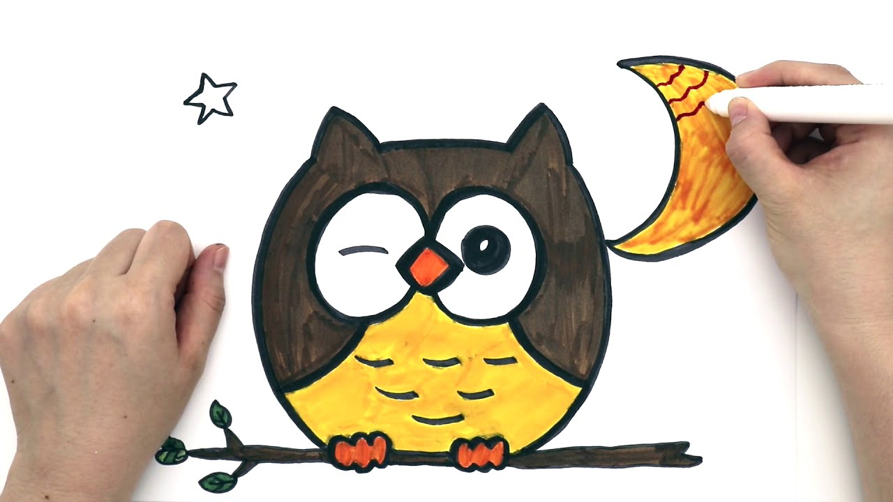 How To Draw An Owl Simple And Easy Drawing Coloring Magic Marker