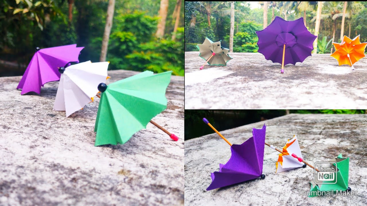 How to make paper umbrella//Umbrella that open and close//paper craft//Memories