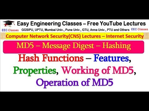 MD5 In Hindi - Message Digest, Hash Functions, Working And Operation Of MD5 - Network Security
