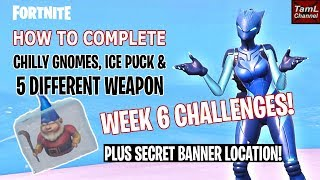 Guide to Chilly Gnomes, Ice Puck & Different Weapons Challenges! & Secret Week 6 Banner! (Fortnite)
