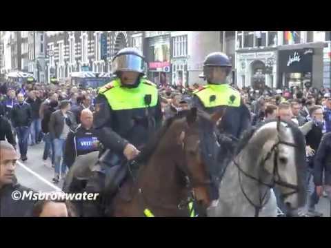 Schalke 04 Fans op weg naar de Amsterdam ArenA  (Ajax -Schalke 04  2-0 kwartfinale Europa League.)