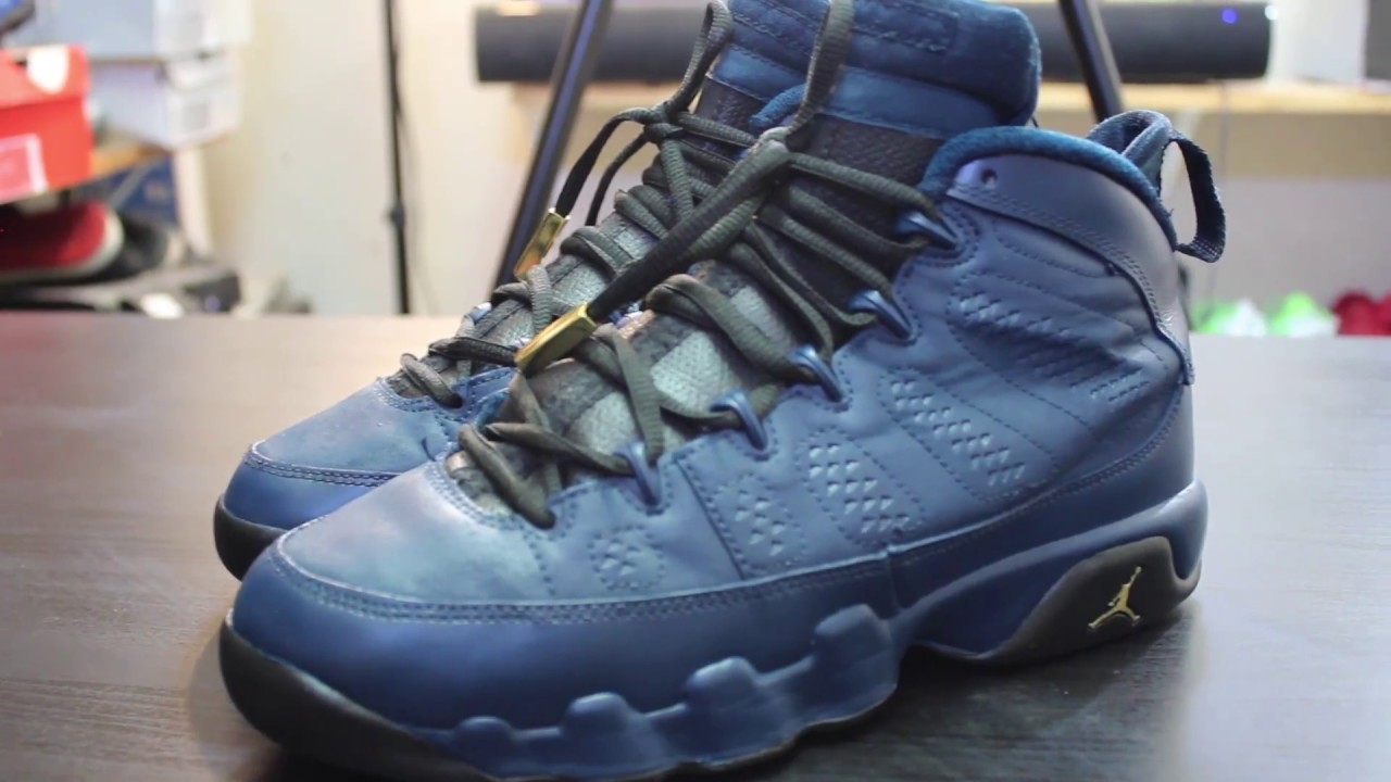 official photos cca30 93e6a promo code for custom air jordan 9 navy blue black gold time lapse 96266  079c6