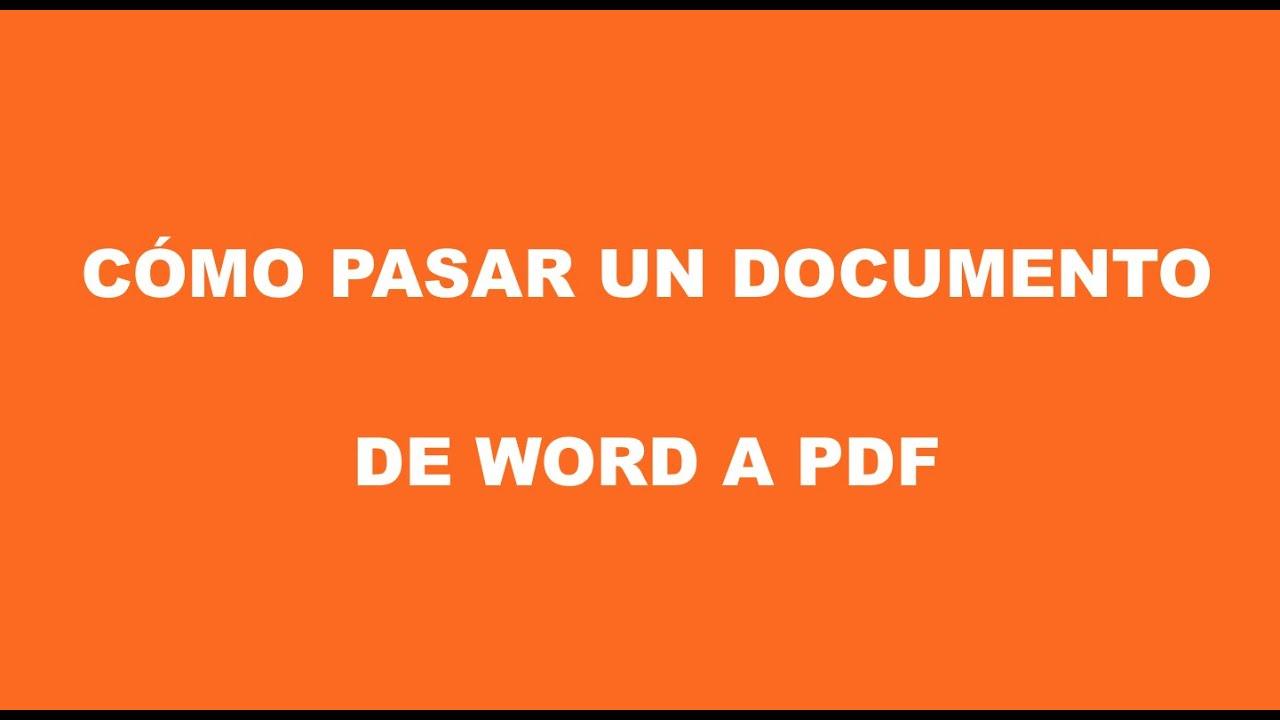Cómo pasar un documento de word a pdf - YouTube