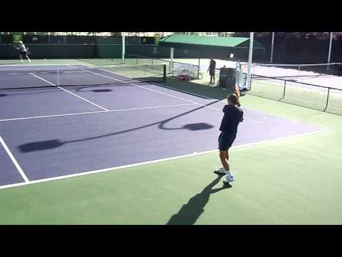 alexandr dolgopolov practicing with simone bolelli at indian wells 2015