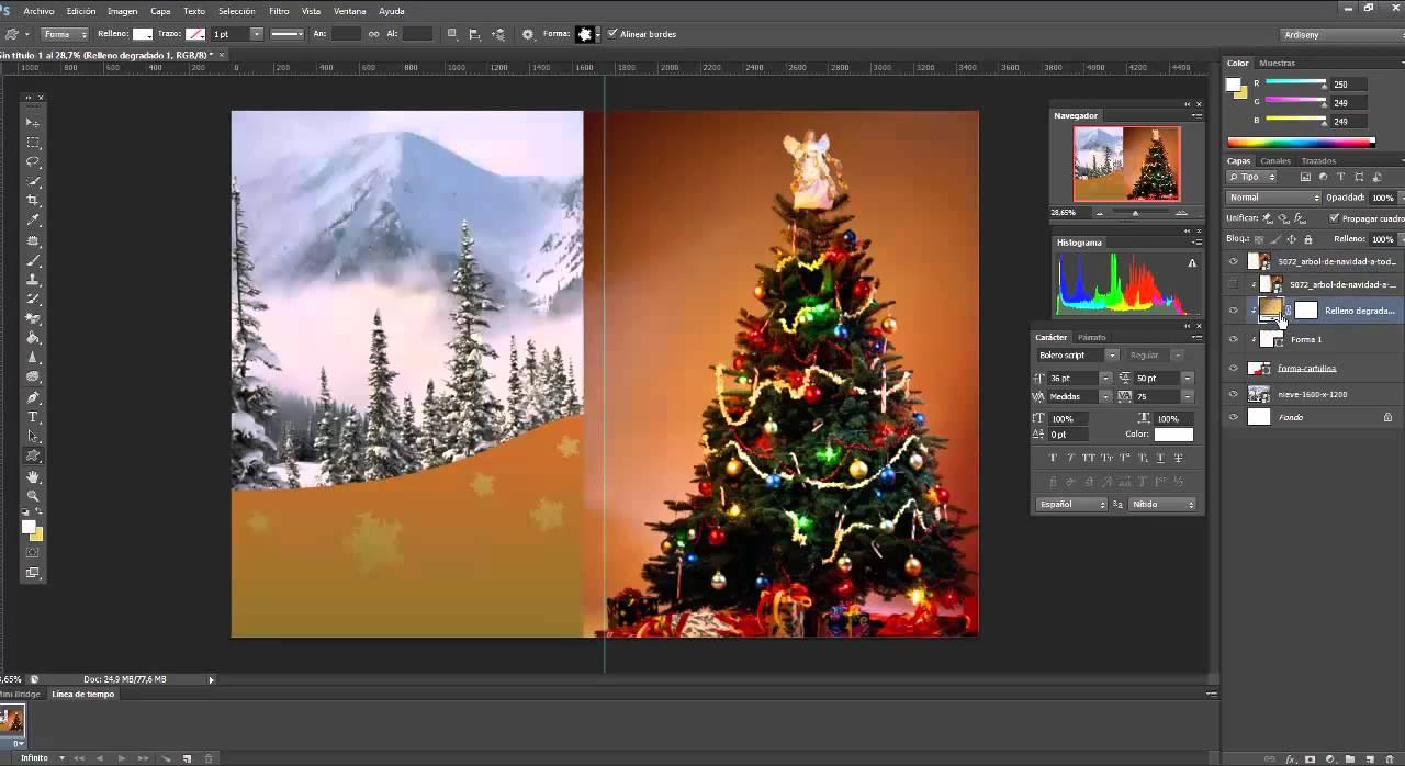 Como hacer una tarjeta de navidad con photoshop tutorial - Como hacer tarjetas de navidad ...