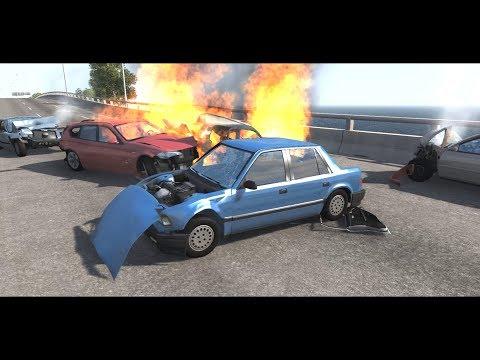 BeamNG Drive - Highway Pileups/Crashes #8 (6+ Car Pileups) •NSFG