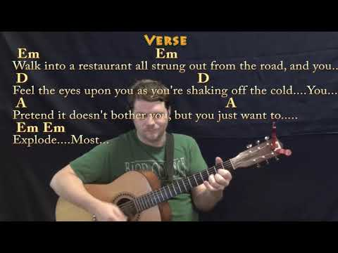 Turn the Page (Bob Seger) Guitar Lesson Chord Chart with Chords/Lyrics