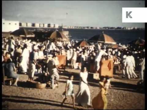 1950s Chowpatty Beach, Mumbai, India, Bombay, Colour Archive Footage