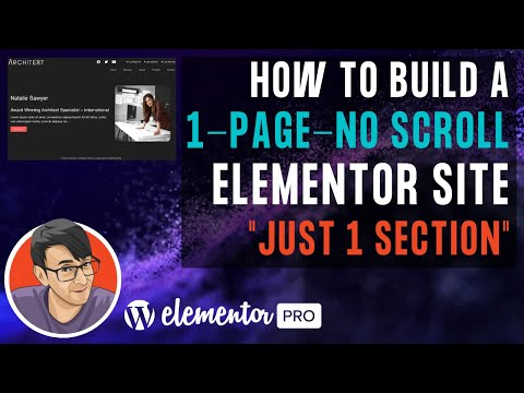 Build a One Page and No Scroll Portfolio or Profile Elementor Site with No need for Menu Anchors