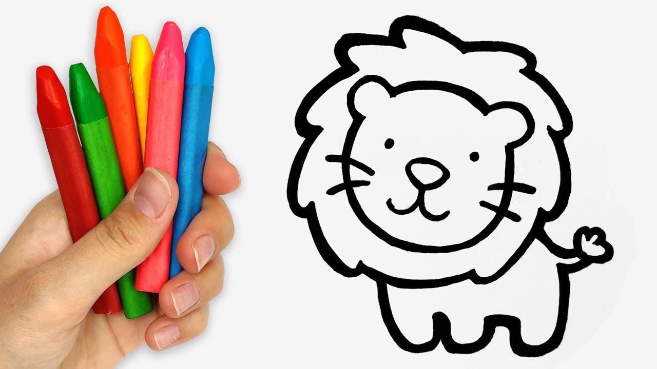 Cara Menggambar Dan Mewarnai Singa Lucu Mainan 83 Video Pendidikan Untuk Anak Anak