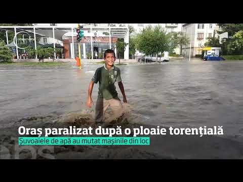 Străzile din Tulcea au fost inundate după o ploaie torențială