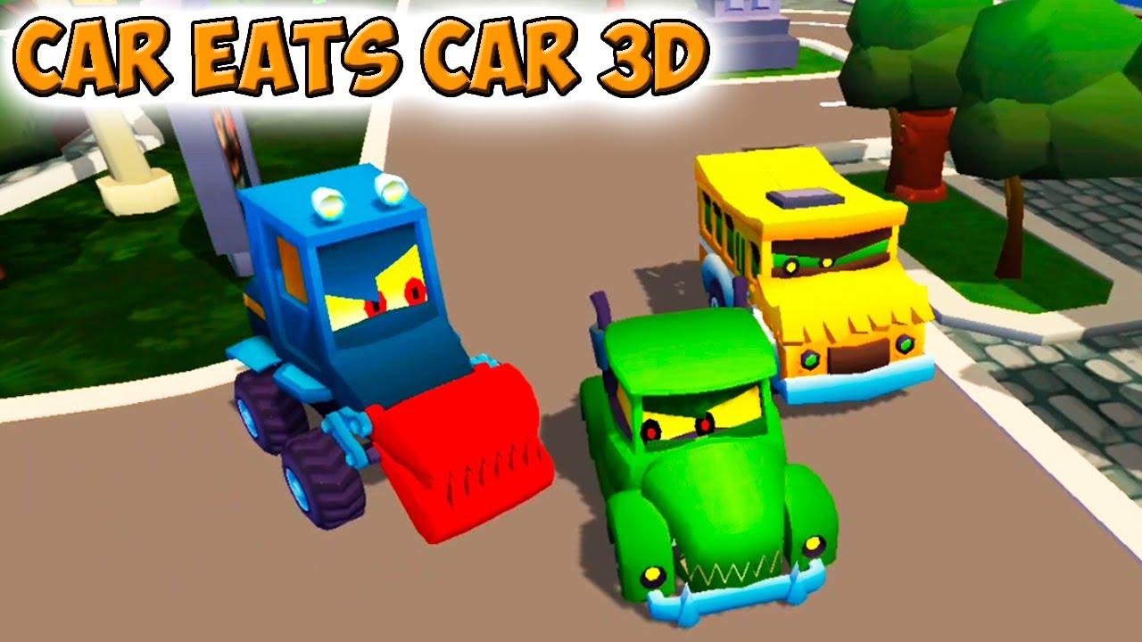 Car Eats Car 3D вышла новая игра про КРАСНУЮ машинку, Хищные Машины 3д прохождение.