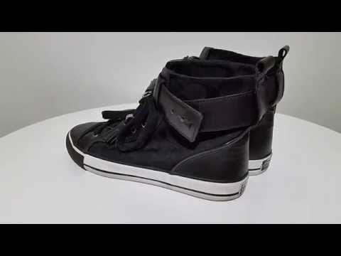 COACH FOSTER womens signature black Hightop Sneakers shoes leather Sz 7.5B