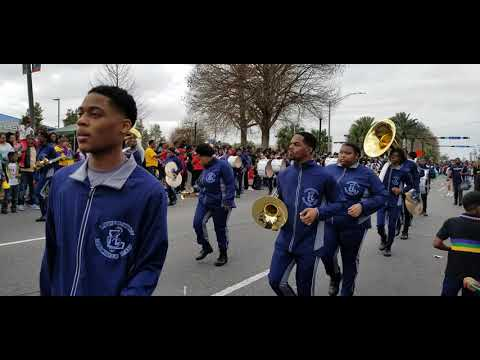 Livingston Collegiate Academy band Marching In Krewe of Nefertiti parade (2020)