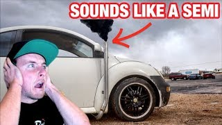 I STRAIGHT PIPED MY VOLKSWAGEN TURBO DIESEL BUG!