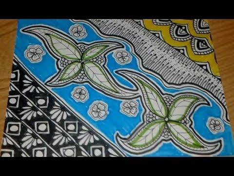 Menggambar Batik Motiv Flora Dan Zentangle Youtube