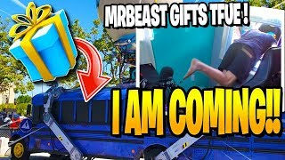 MrBeast GIFTS Tfue BATTLE BUS After his FIRST WIN in Fortnite! (Real Life Battle Bus)