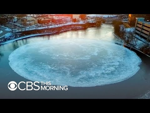 300-foot ice disk spins over vortex in Maine river